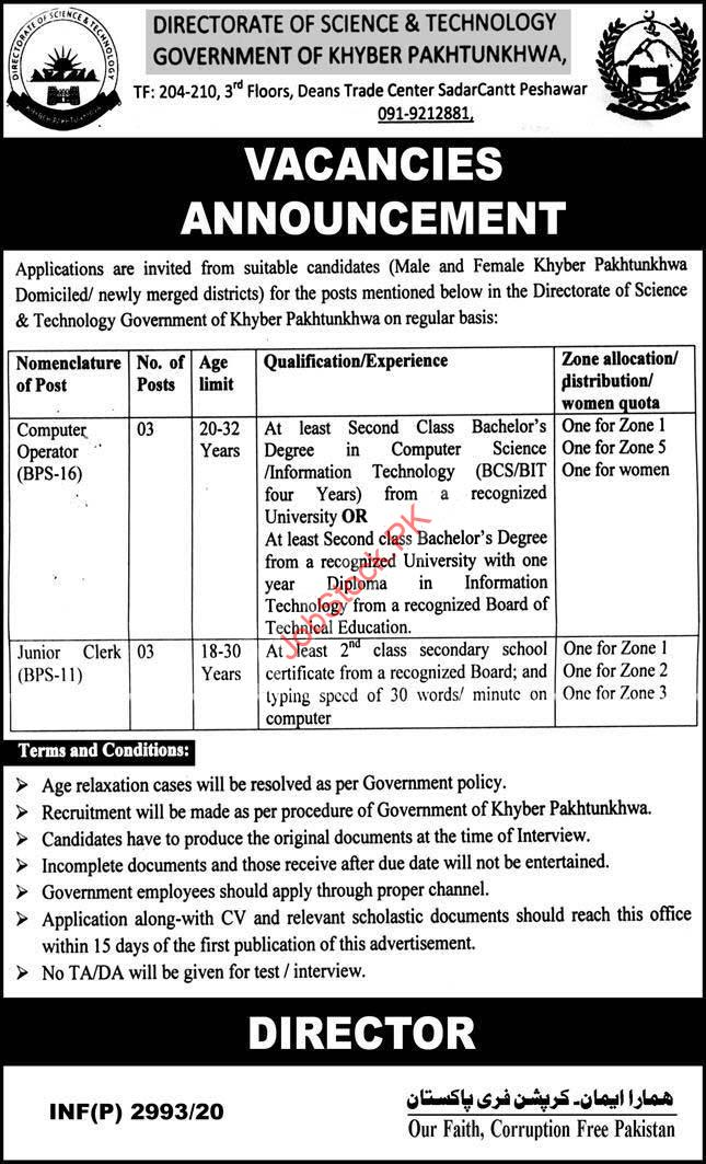 Directorate Of Science & Technology Kpk Jobs 2020 Latest