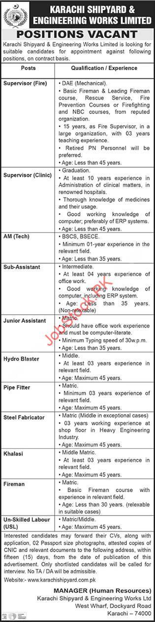 Karachi Shipyard And Engineering Works Jobs 2020 Latest