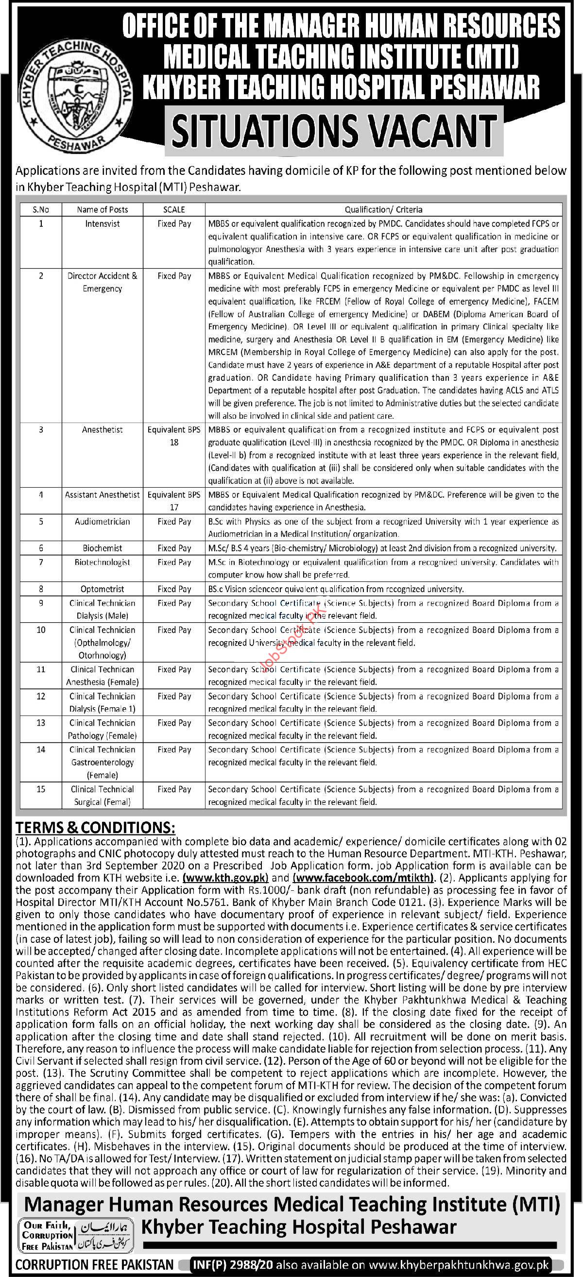 Khyber Teaching Hospital Kth Mti Peshawar Jobs 2020 Latest