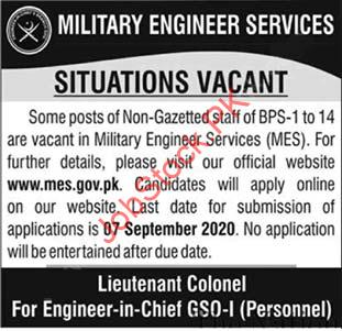 Military Engineering Services Mes Jobs 2020 Latest