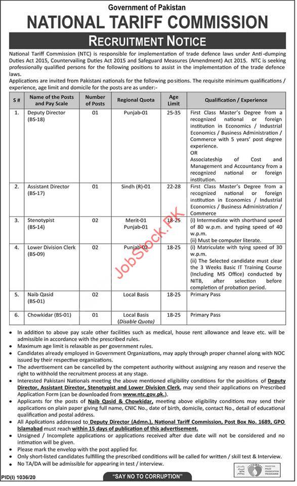 National Tariff Commission Ntc Jobs 2020 Latest Islamabad