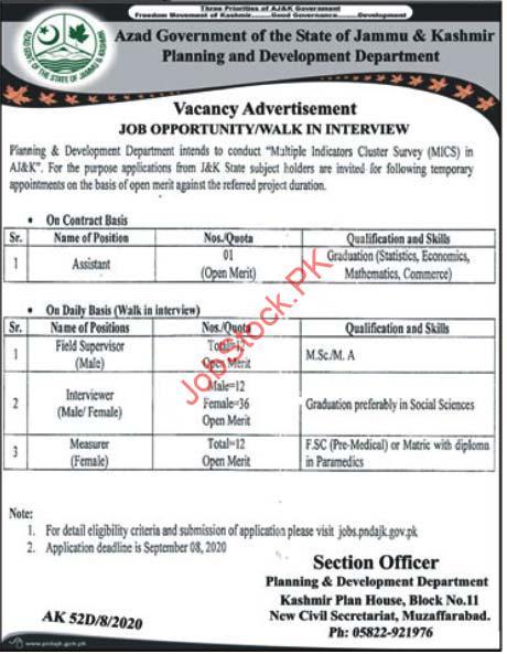 Planning And Development Department Muzaffarabad Ajk Jobs 2020