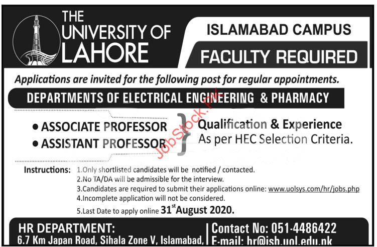 The University Of Lahore Jobs In Islamabad Campus 2020 Latest