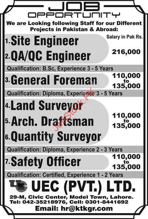 Uec Pvt Limited Engineering Jobs Lahore 2020