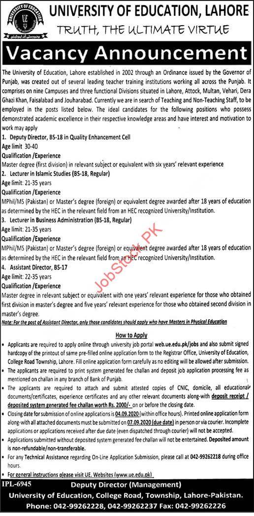 University Of Education Lahore Jobs 2020 August Latest