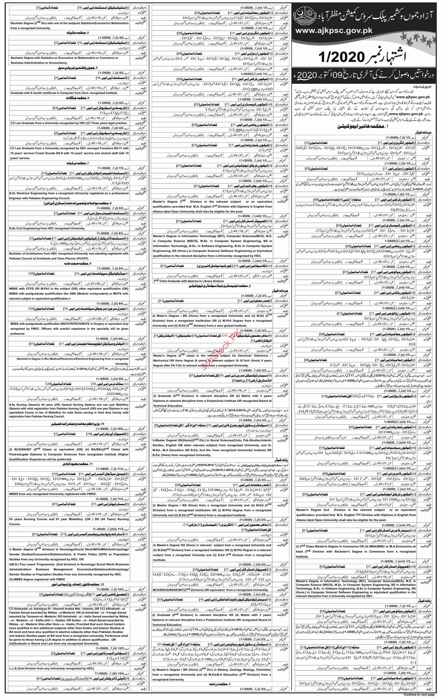Ajkpsc Jobs 2020 Latest Advertisement No.012020 Apply Online