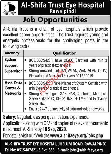 Al Shifa Trust Eye Hospital Rawalpindi Job 2020