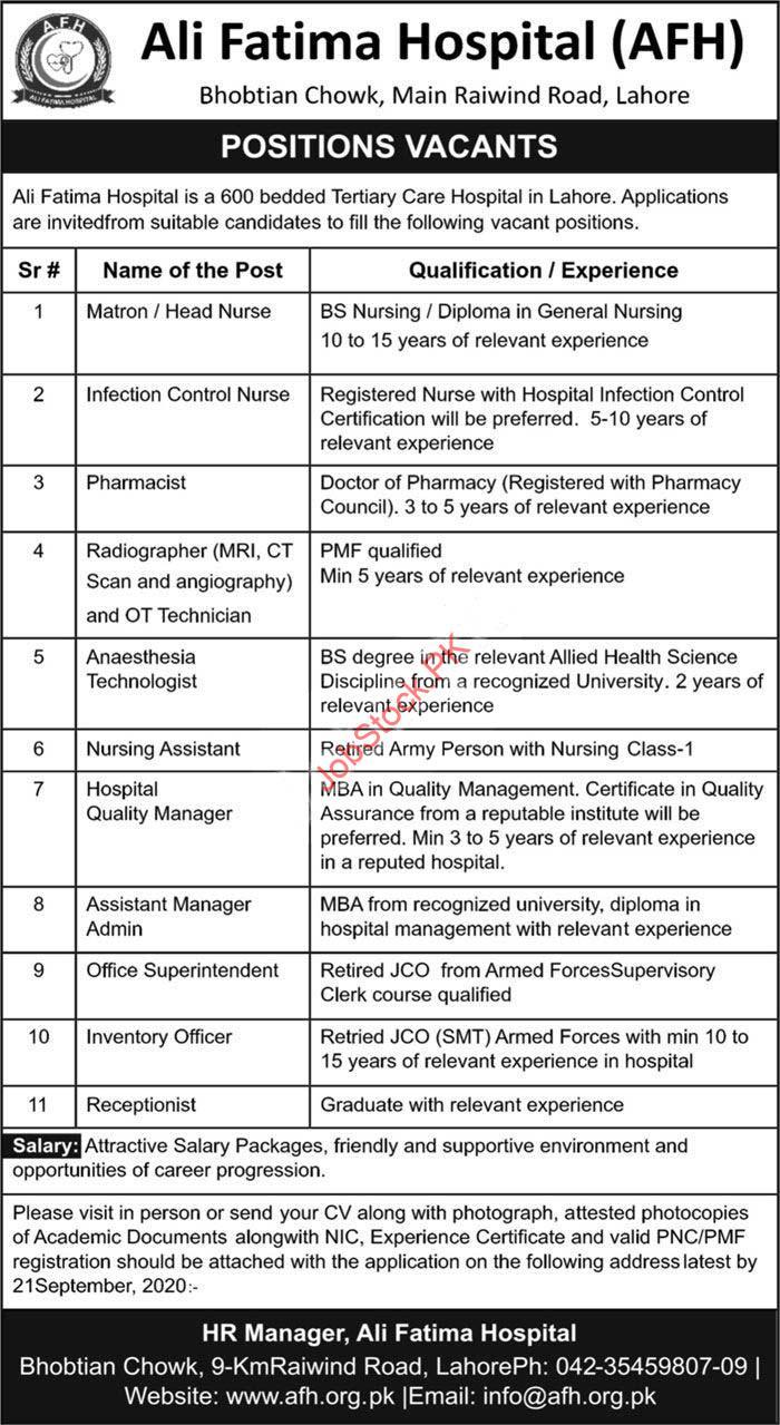 Ali Fatima Hospital Afh Lahore Jobs 2020