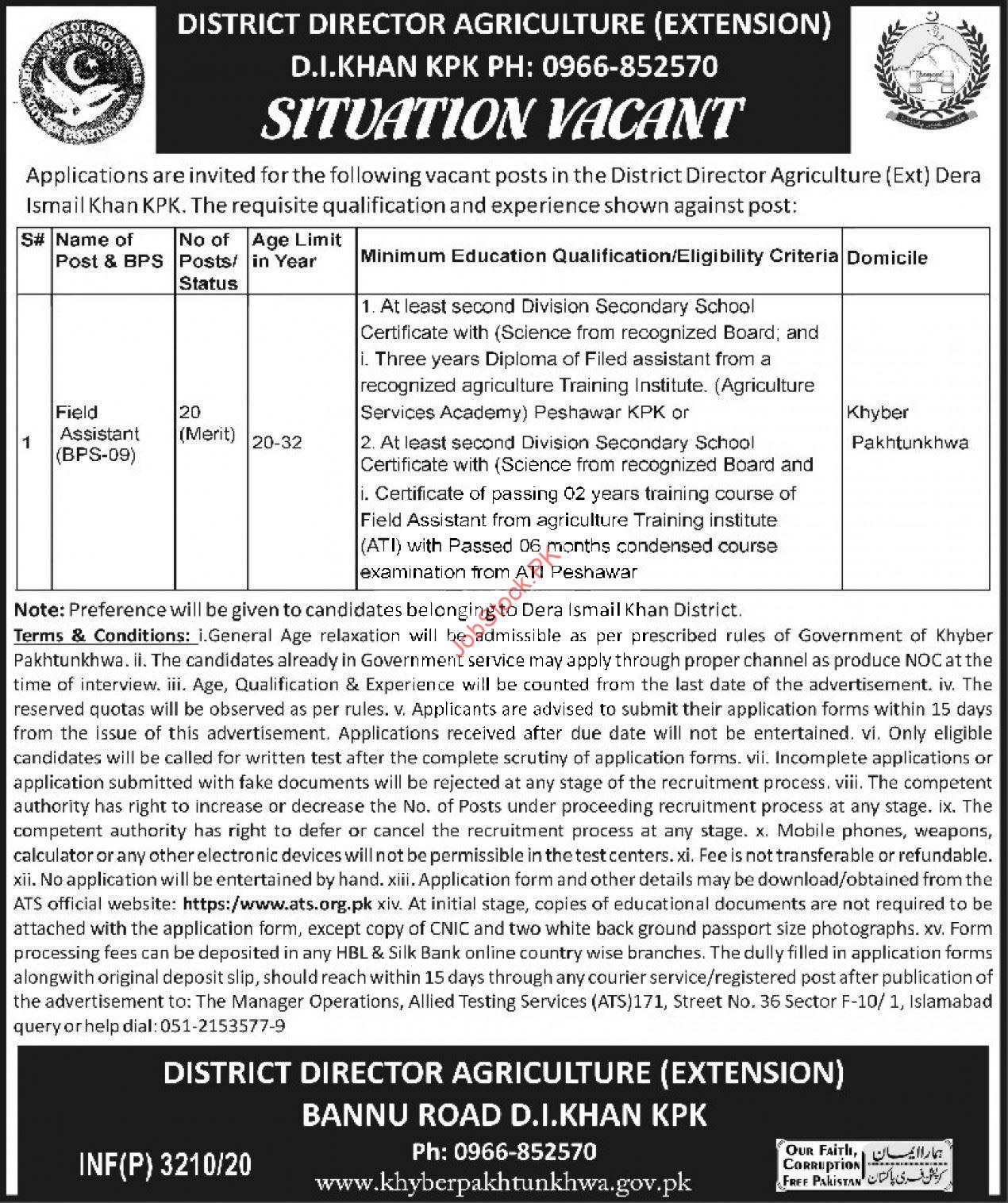 District Director Agriculture Extension Kpk D.i Khan 2020