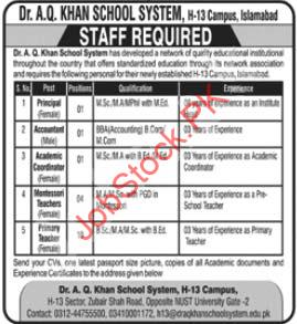 Dr A.q Khan School System H 13 Campus Islamabad Jobs 2020