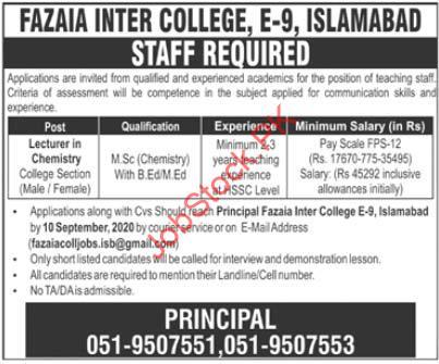 Fazaia Inter College Islamabad Jobs 2020