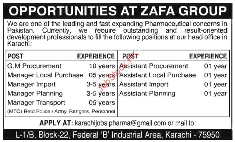 Gm Procurement & Assistant Planning Karachi Jobs 2020