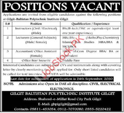 Gilgit Baltistan Polytechnic Institute Gbpi Gilgit Jobs 2020