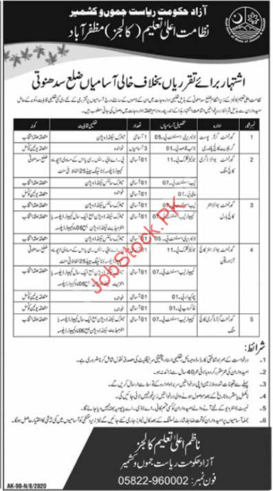 Higher Education Colleges Department Azad Kashmir Jobs 2020