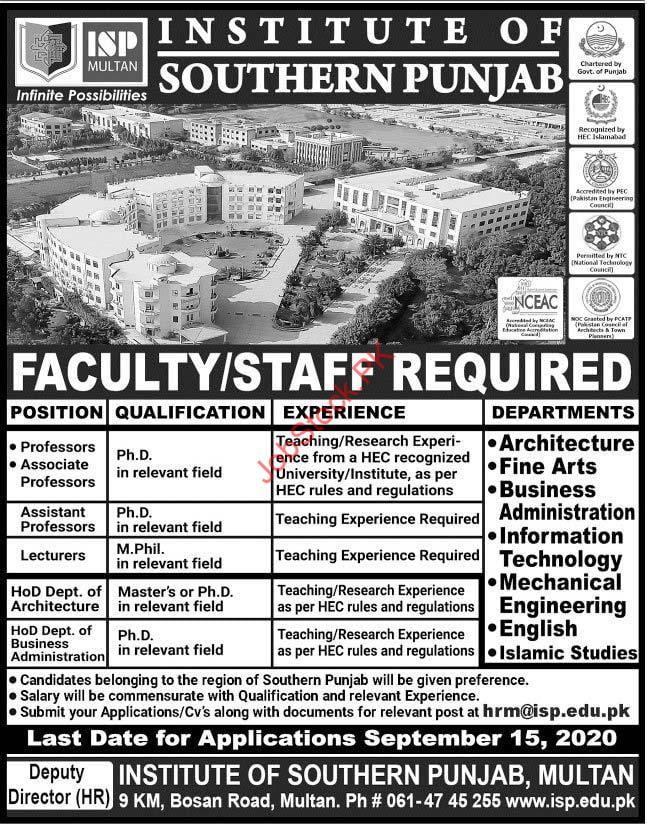 Institute Of Southern Punjab Isp Multan Jobs 2020