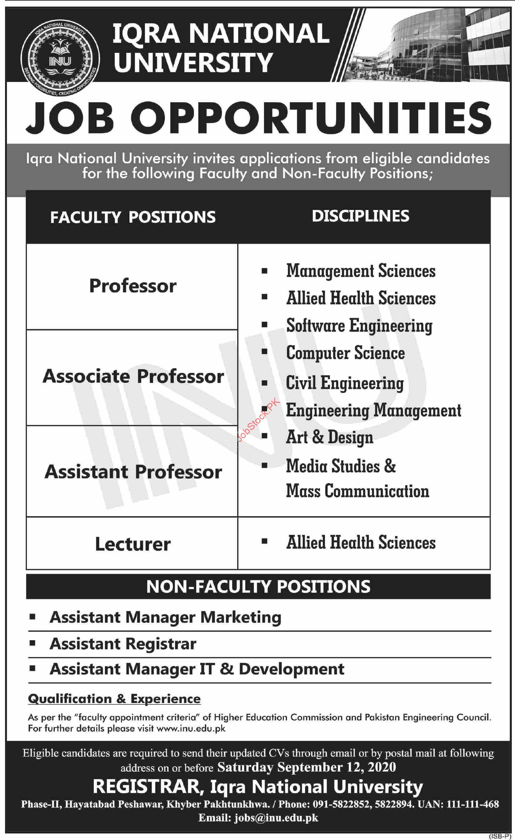 Iqra National University Inu Peshawar Jobs 2020