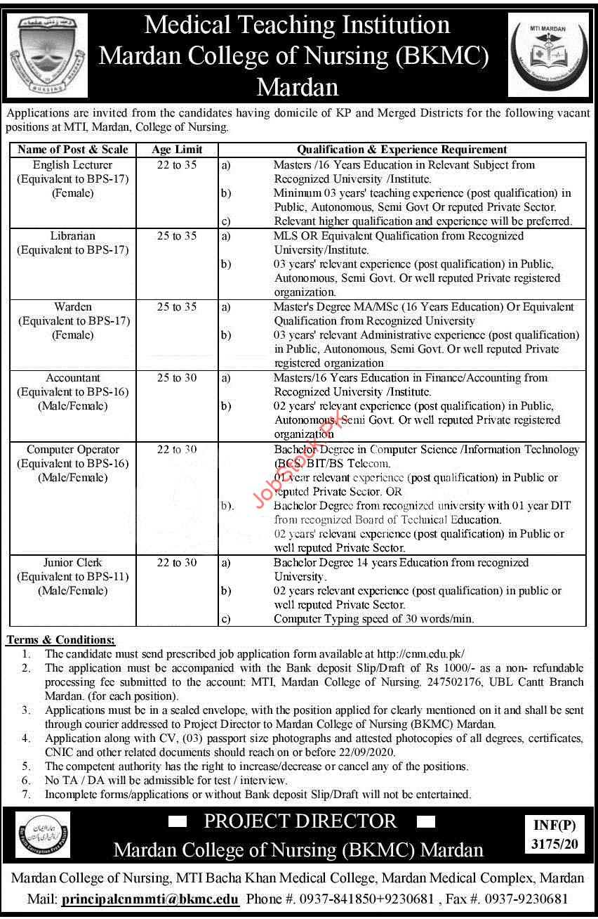 Mardan College Of Nursing Bkmc Mti Jobs 2020