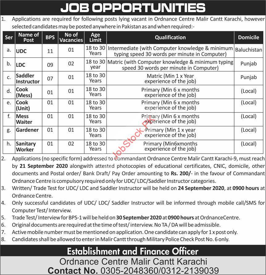 Ordnance Centre Malir Cantt Karachi Jobs 2020