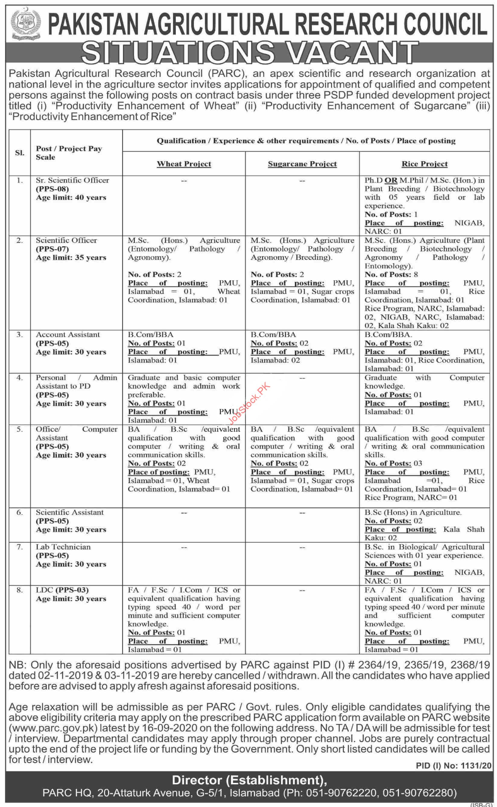 Pakistan Agricultural Research Council Islamabad Jobs 2020 Latest