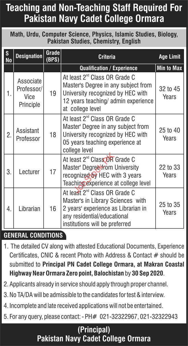 Pakistan Navy Cadet College Ormara Jobs 2020