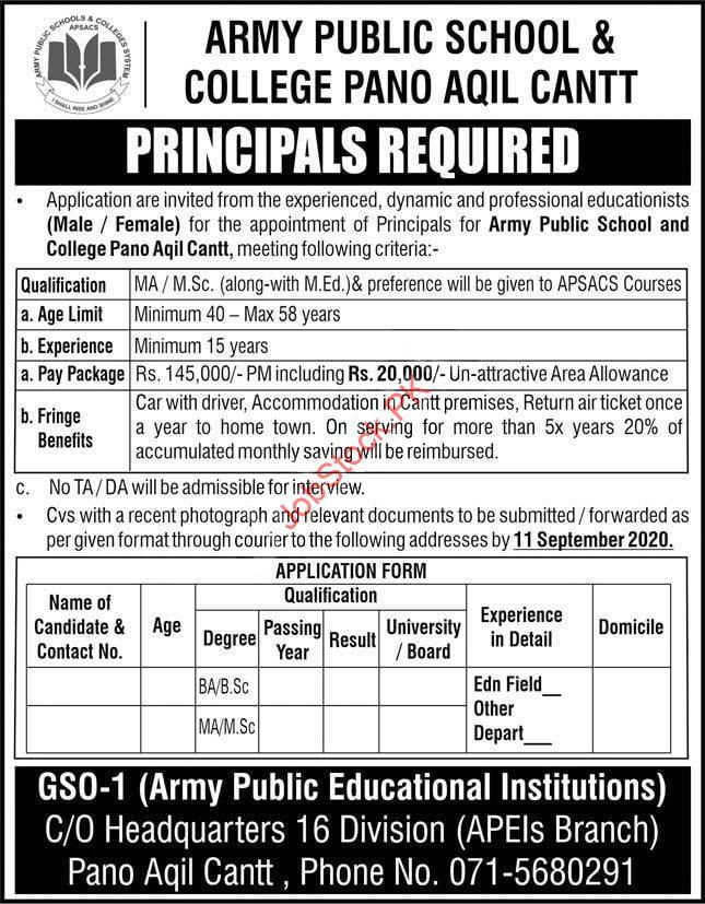 Principal Jobs In Army Public School & College Pano Aqil 2020