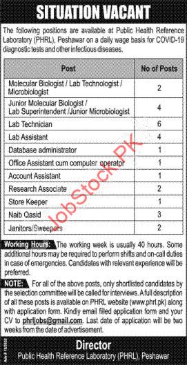 Public Health Reference Laboratory Phrl Peshawar Jobs 2020