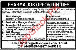 Rotex Pharma Company Jobs 2020