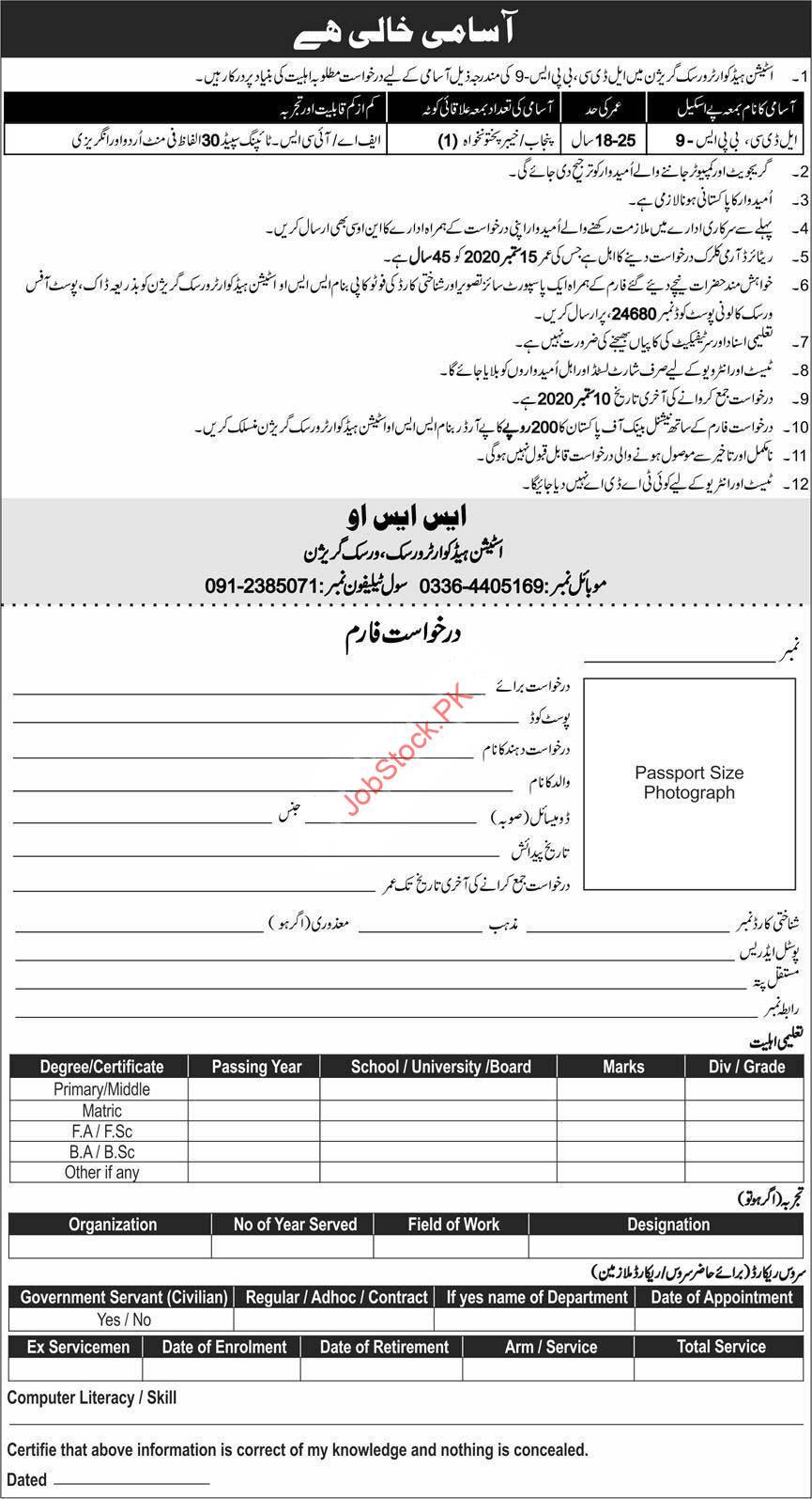 Station Headquarters Peshawar Jobs 2020 Latest