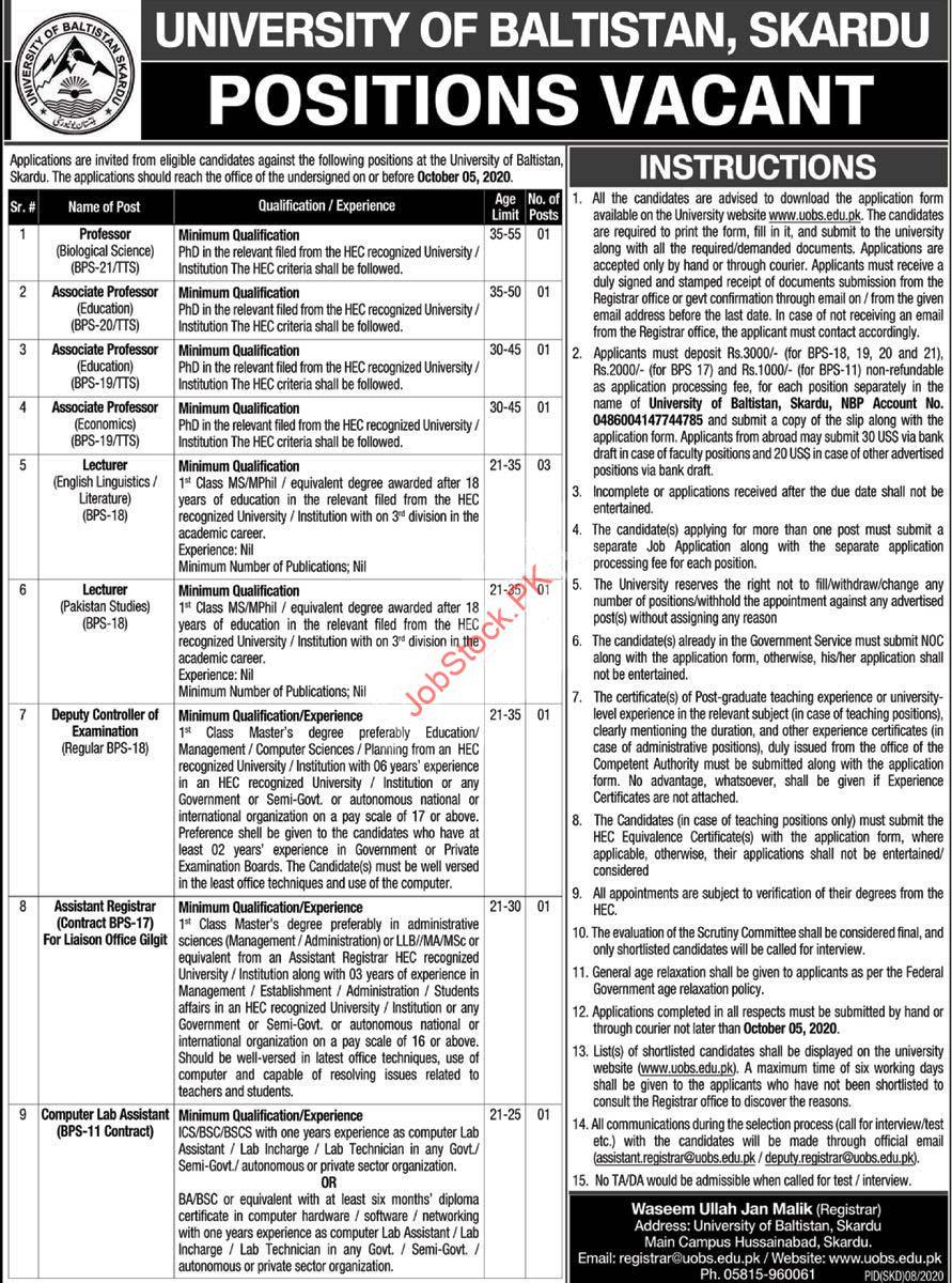 University Of Baltistan Skardu Uobs Jobs 2020