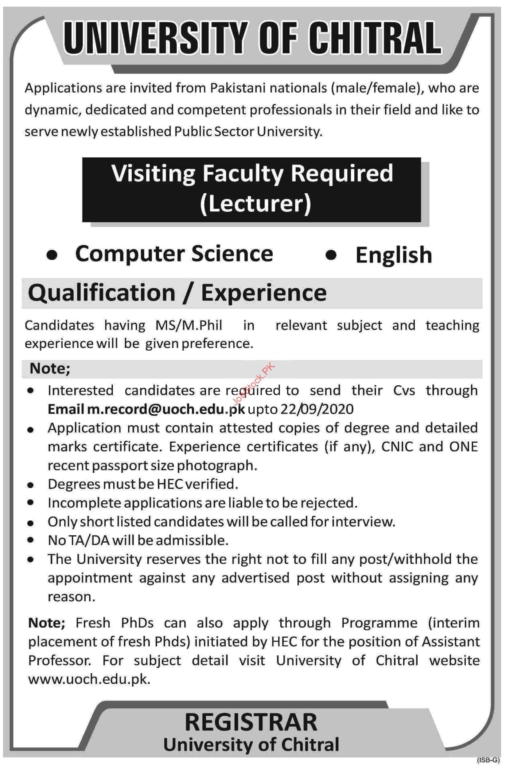 University Of Chitral Jobs 2020