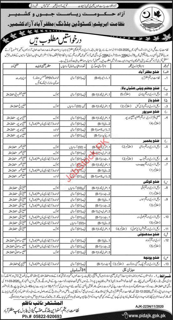 Abrashim Department Custodian Building Muzaffarabad Jobs 2020