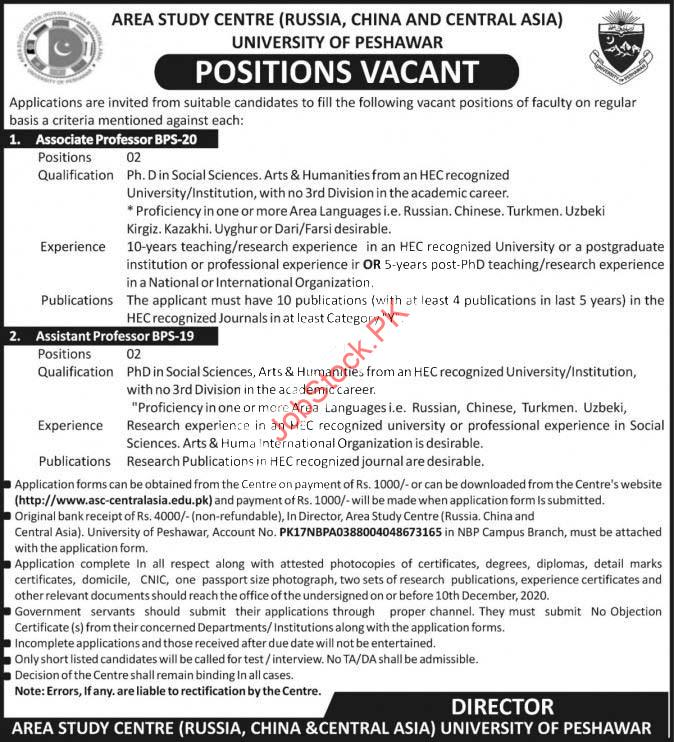 Area Study Centre University Of Peshawar Jobs 2020