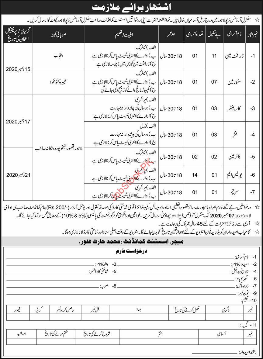 Central Ordnance Depot Lahore Jobs 2020