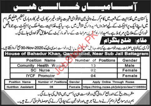 Community Health Worker & Iycf Promoter Ngo Battagram Jobs 2020