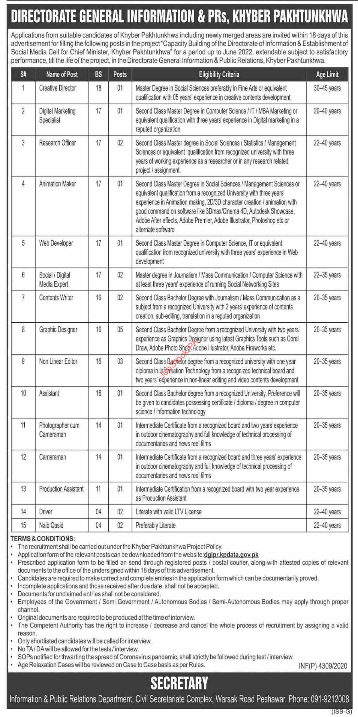 Directorate General Information & Prs Peshawar Jobs 2020 November Latest