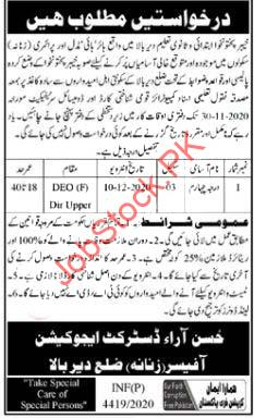 District Education Office Deo Lower Dir Jobs 2020