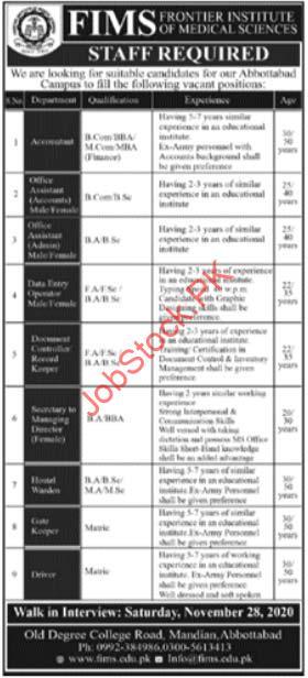 Frontier Institute Of Medical Sciences Abbottabad Jobs 2020
