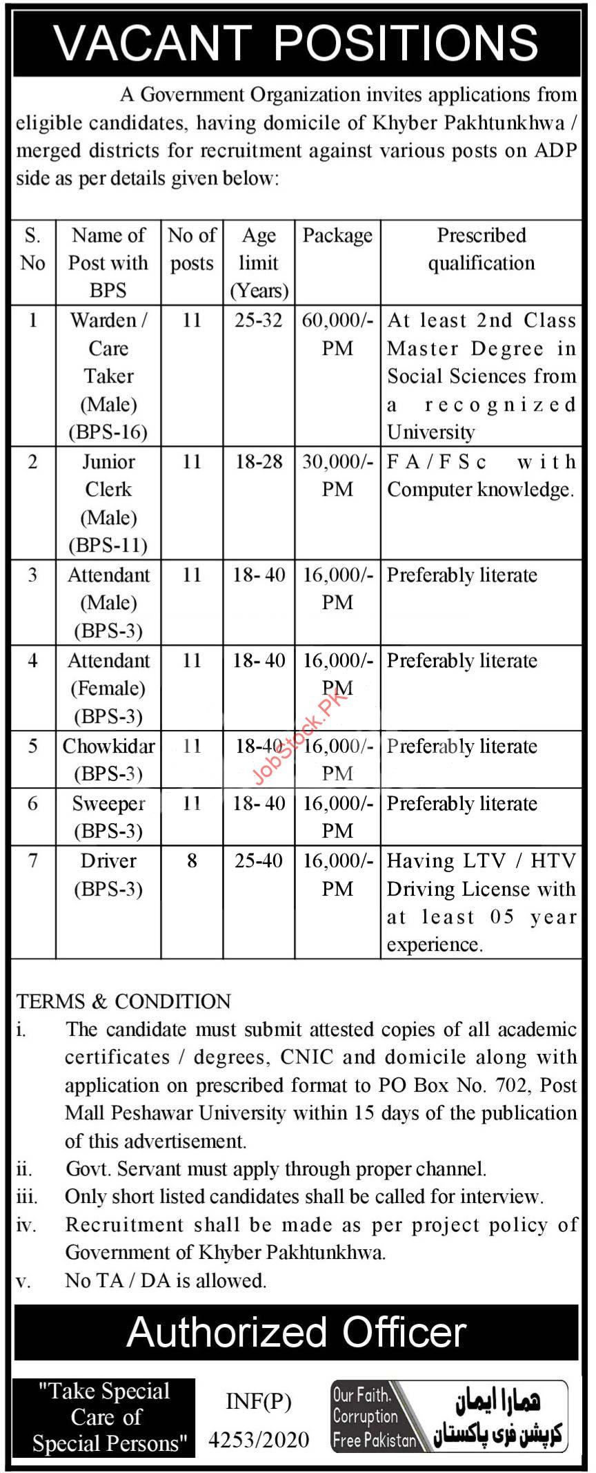 Government Organization Adp Kpk Jobs 2020 November Latest