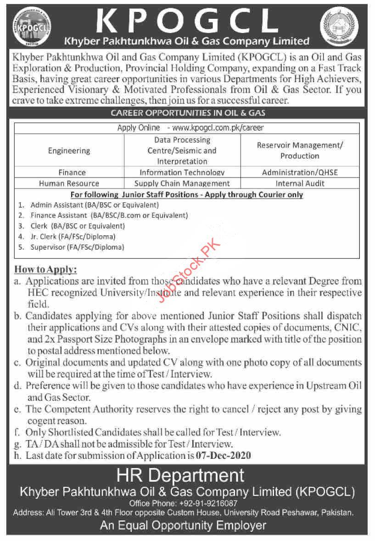 Khyber Pakhtunkhwa Oil & Gas Company Limited Kpogcl Jobs 2020