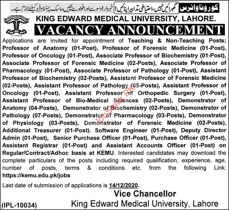 King Edward Medical University Kemu Lahore Jobs 2020