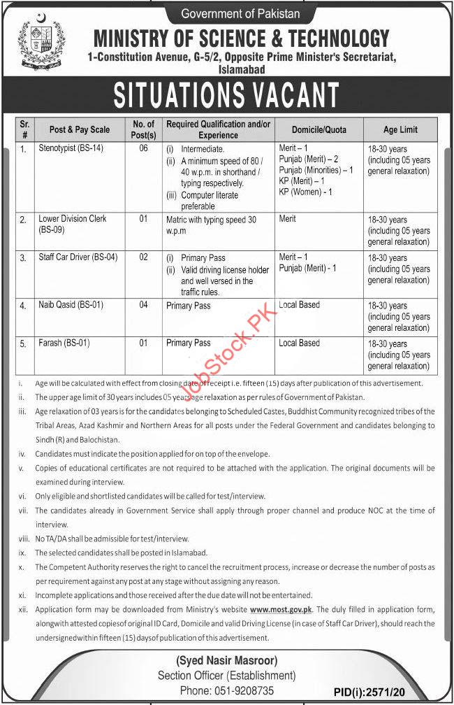 Ministry Of Science And Technology Most Islamabad Jobs 2020