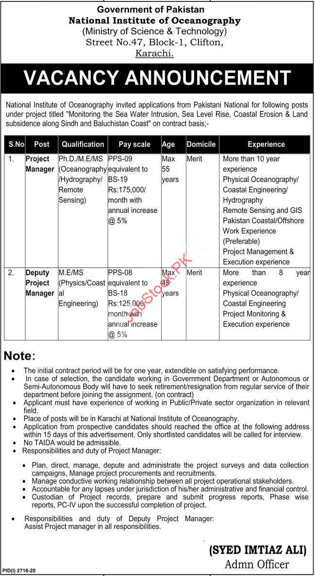Ministry Of Science And Technology Most Karachi Jobs 2020