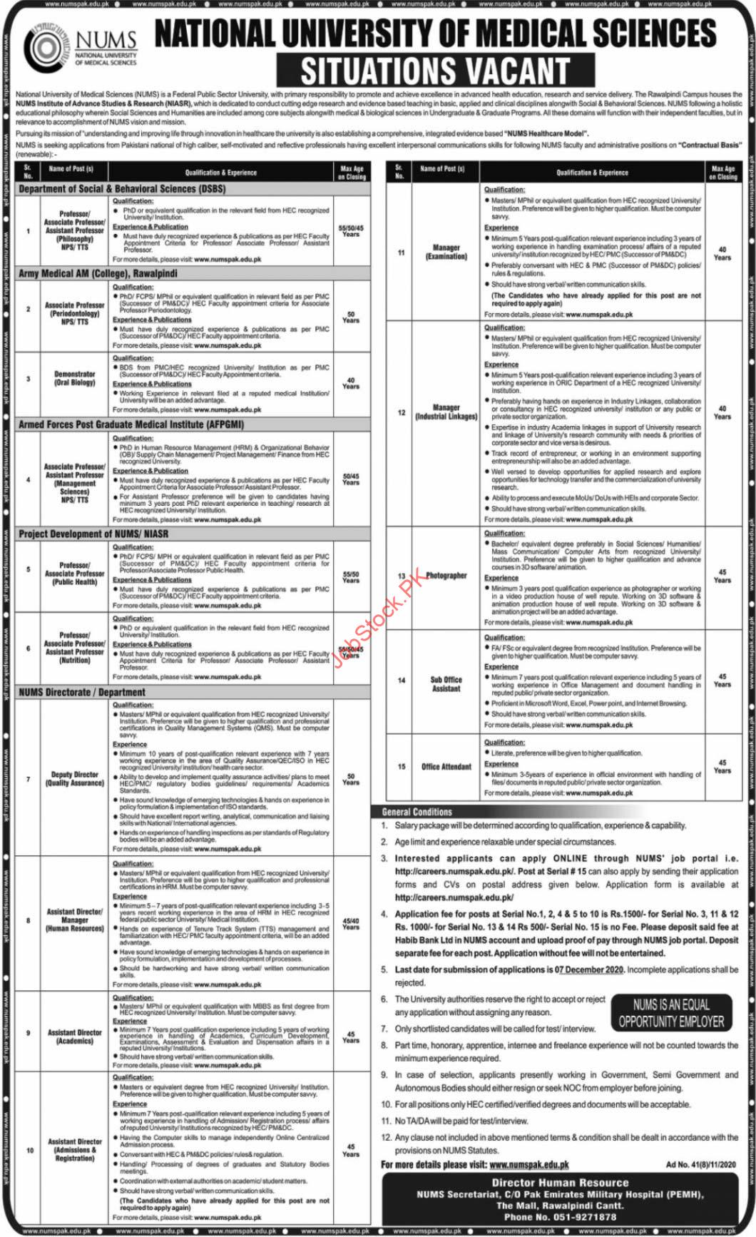 National University Of Medical Sciences Nums Jobs 2020