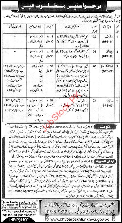Wildlife Division North Waziristan Jobs 2020