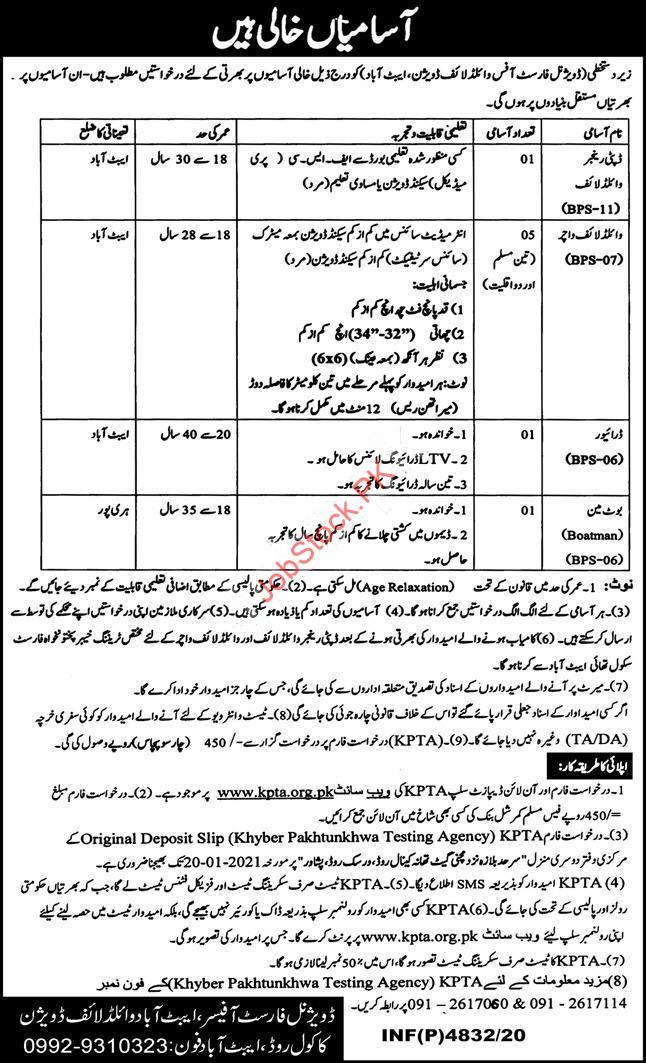 Abbottabad Wildlife Division Jobs 2021