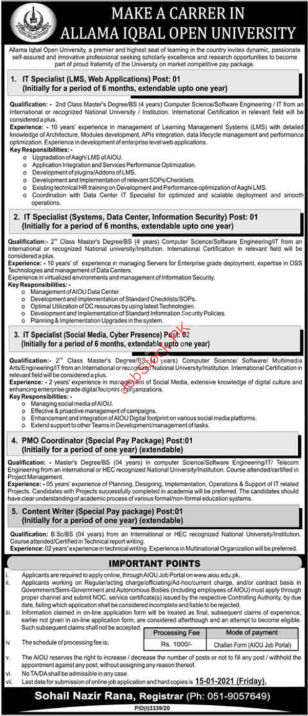 Allama Iqbal Open University Aiou Islamabad Jobs 2021