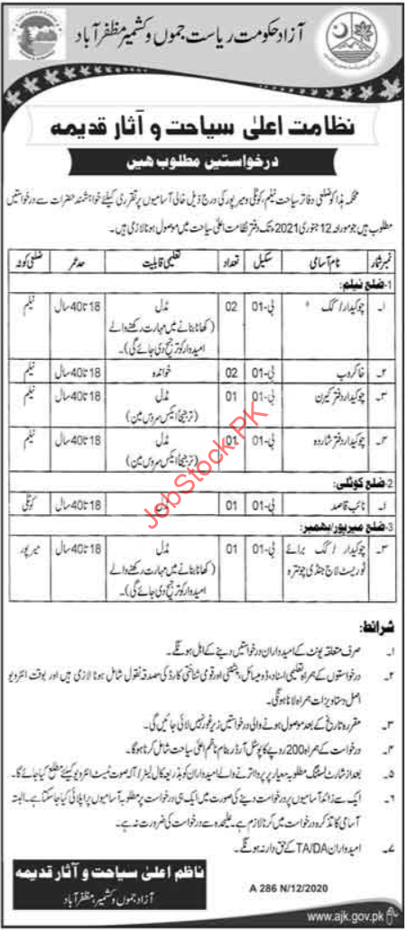 Archaeology & Tourism Department Ajk Muzaffarabad Jobs 2021