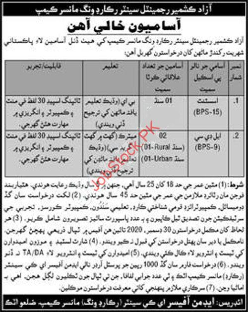 Azad Kashmir Regiment Centre Record Wing Mansar Camp Jobs 2021
