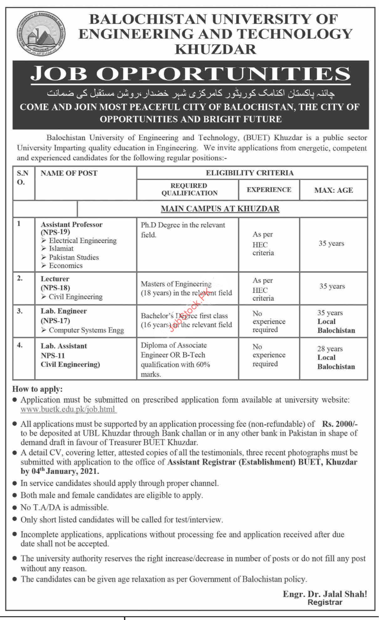 Balochistan University Of Engineering Buet Khuzdar Jobs 2021
