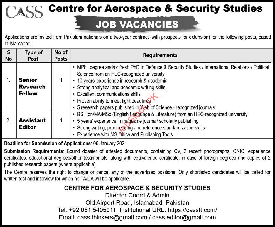 Centre For Aerospace And Security Studies Cass Jobs 2021